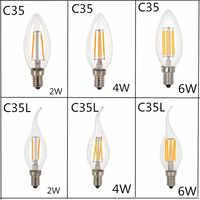 10 unids/lote de diseño de ahorro de energía 2W 4W 6W vela E14 E27 E12 220V 110V regulable C35 C35L lámparas de filamento LED de 360 grados
