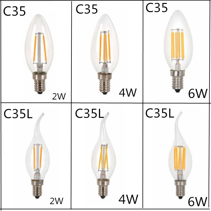 10pcs/LOT Design Energy Saving 2W 4W 6W Candle E14 E27 E12 220V 110V Dimmable C35 C35L LED Filament Light Bulb 360 Degree Lamps