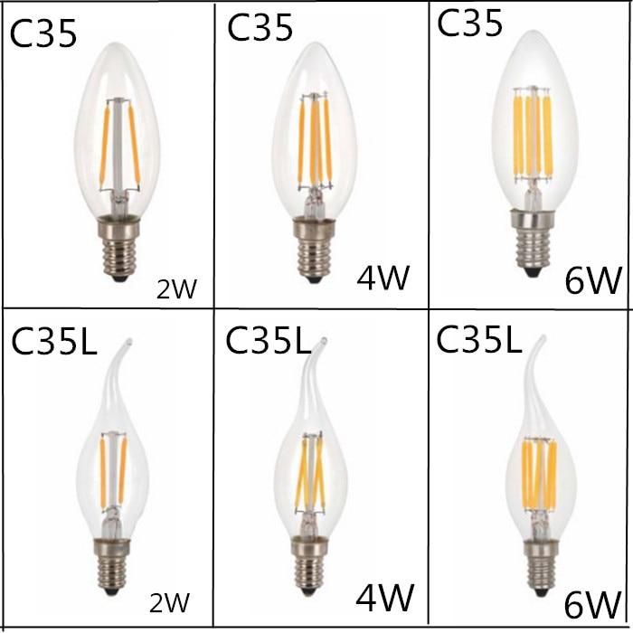 10pcs/LOT Design Energy Saving 2W 4W 6W Candle E14 E27 E12 220V 110V Dimmable C35 C35L LED Filament Light Bulb 360 Degree Lamps