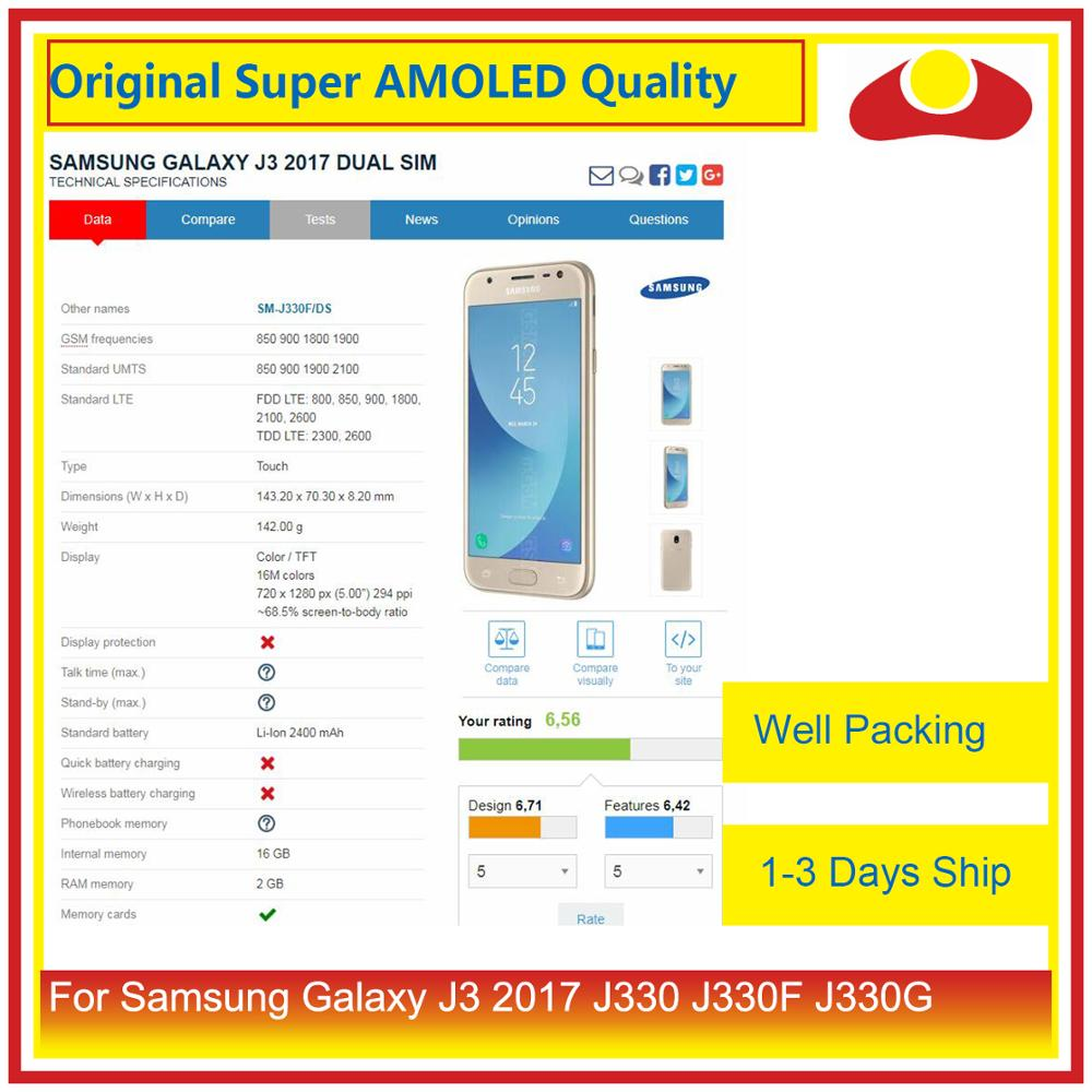 """Image 3 - Original 5.0"""" For Samsung Galaxy J3 2017 J330 LCD Display With Touch Screen Digitizer Panel Pantalla Complete J3 Pro 2017 LCD-in Mobile Phone LCD Screens from Cellphones & Telecommunications"""