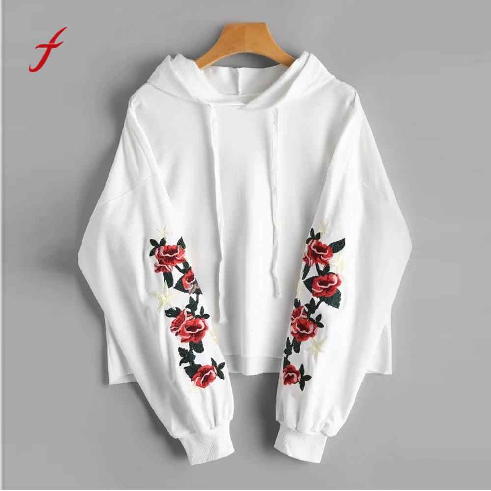 feitong Women Long Sleeves Floral Embroidered Patch Drawstring Hoodie Blouse Tops Patch Drawstring Harajuku #3