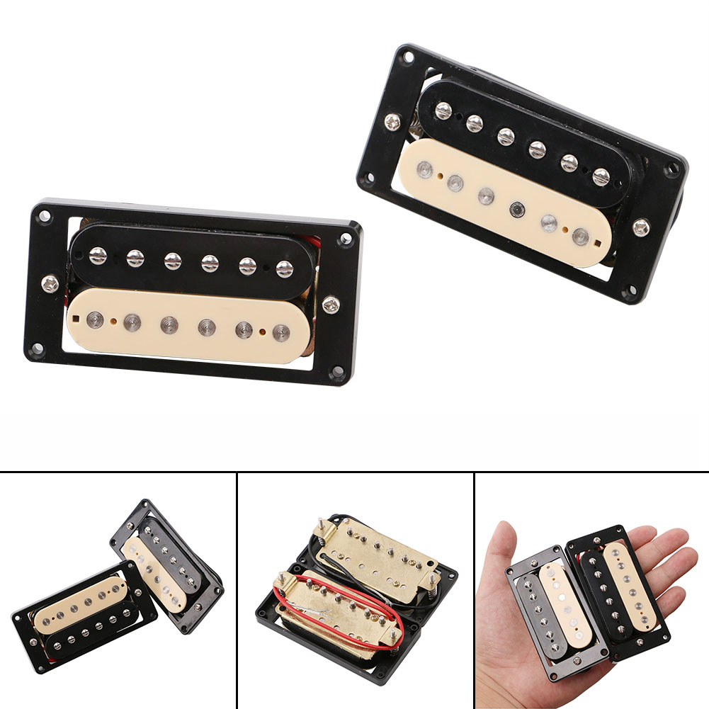 Homeland 6-string Rickenbacker electric guitar or bass Mini pickup 12 double-row adjustable magnetic column Guitar Pickup mini handheld 17 6 string electric guitar toy random color 2 aa