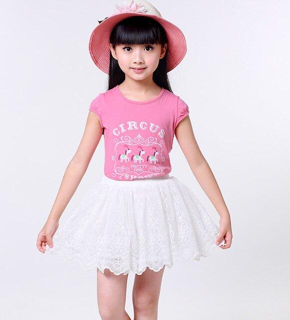 Tutu Rok Kinderen Meisje Kids Petticoat ClothesLace Mesh Solid Colors  Short Floral Fashion Kids Casual Dance Skirt