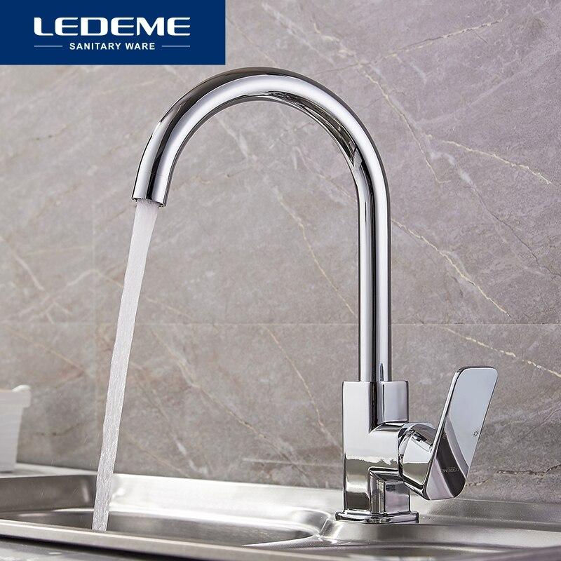 LEDEME Chrome New Kitchen Faucet Sink Mixer Tap Swivel Spout Faucet Classic Swivel Copper Single Hole