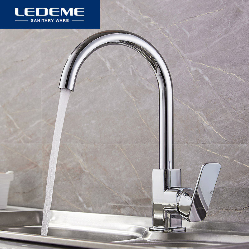 LEDEME Chrome New Kitchen Faucet Sink Mixer Tap Swivel Spout Faucet Classic Swivel Copper Single Hole Kitchen Faucets Taps