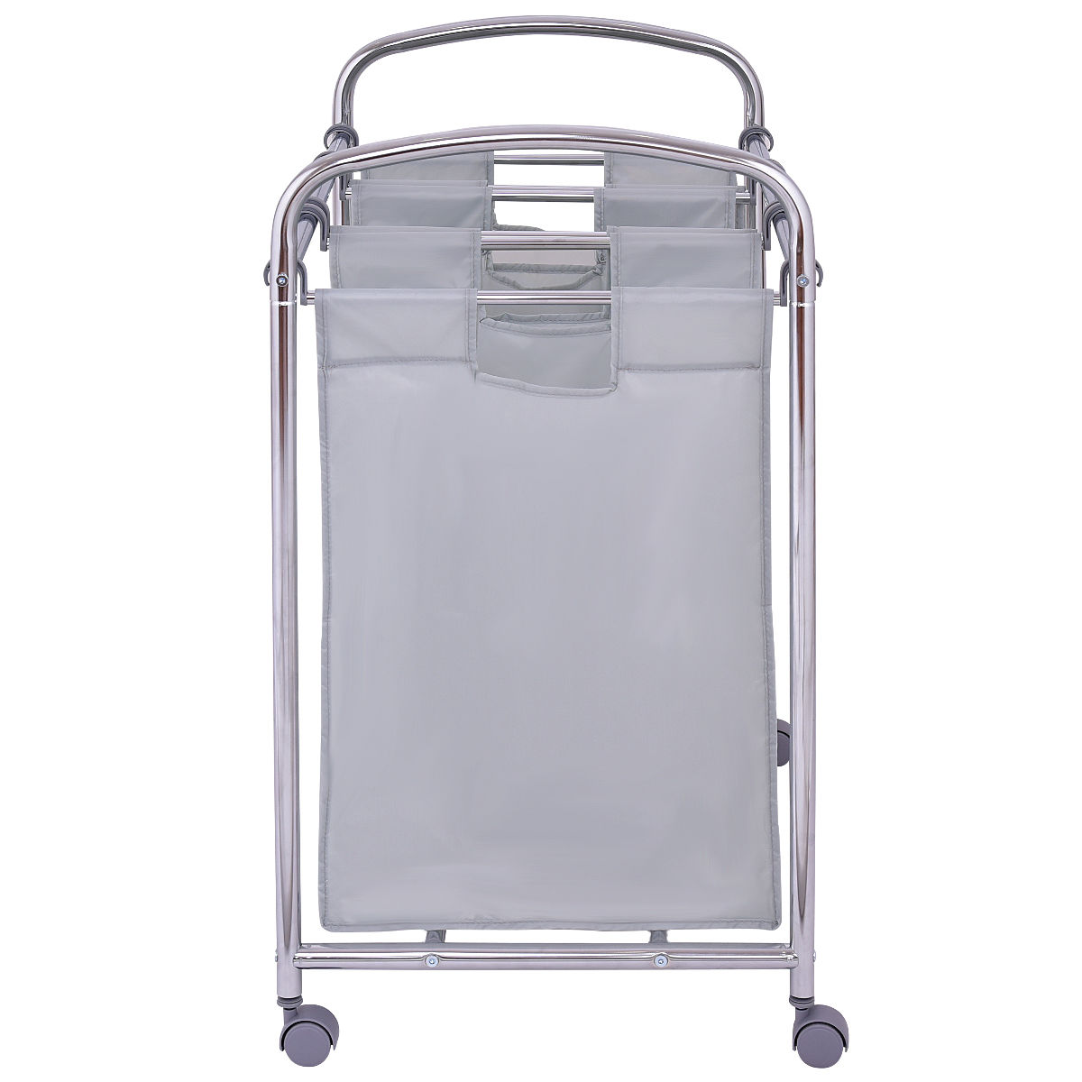 Goplus Laundry Cart Basket Triple Bag Sorter With 3 Section bags Cart Trolley Bathroom Hamper Bins Clothes Storage HW55256
