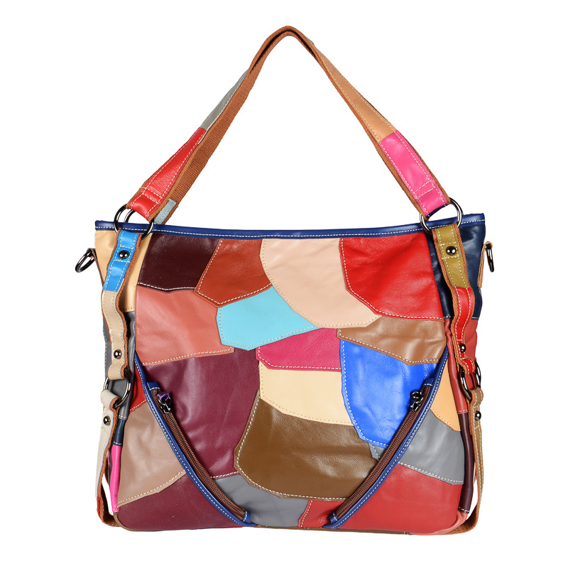 Patchwork Genuine Leather Women Handbag Big Capactity Tote Casual Retro Stitching Messenger Bag Cowhide Splice Shoulder
