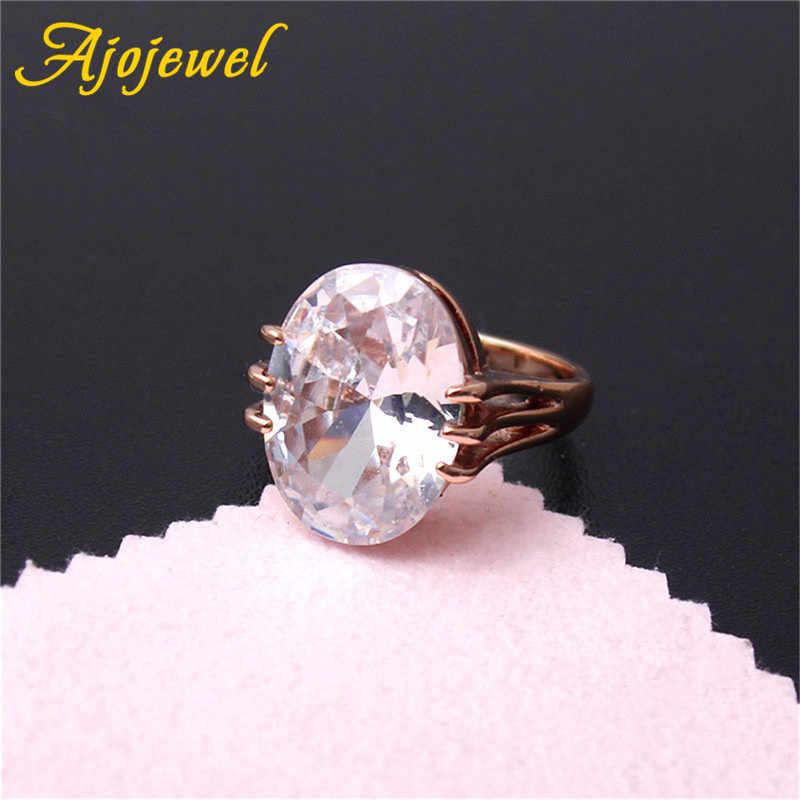 d418910fa00e2 Ajojewel Big Oval Stone clear Cubic Zircon Ring Women Luxury Wedding  Jewelry Engagement Ring