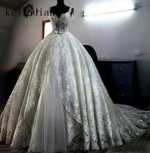 Vestido De Novia sparkling Abiti Da Sposa in pizzo su ordine dellabito di sfera pesantemente sfera abito da sposa per Arabia Saudita abito Da Sposa