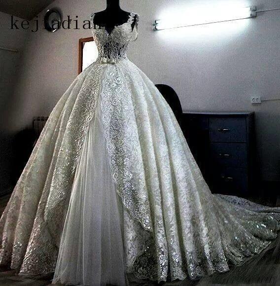 Vestido De Novia sparkling lace Wedding Dresses custom made ball gown heavily ball gown for bridal Saudi Arabia Wedding gown