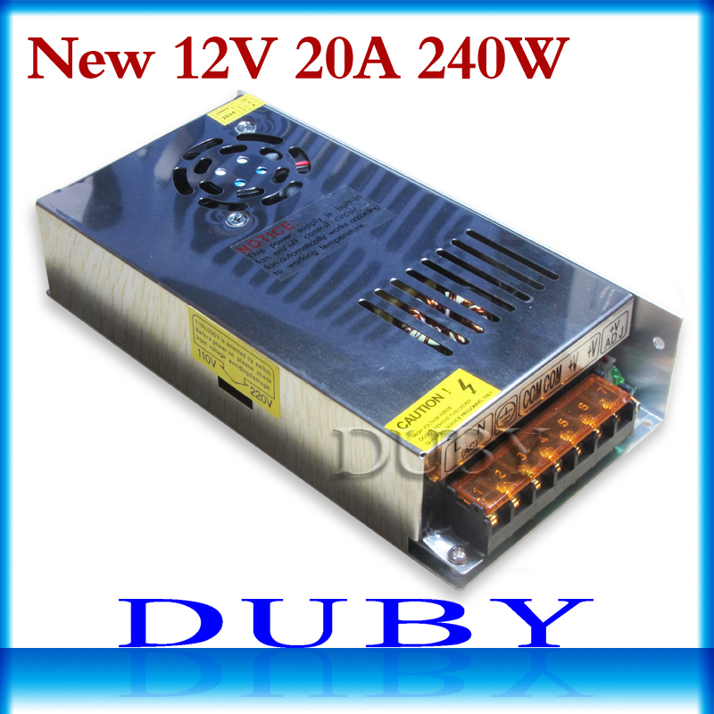 50piece/lot 2015 New 12V 20A 240W Switching Switch Power Supply Driver for LED Strip Lights AC 110-220V Free Fedex new 24v 20a 480w switching switch power supply adapter led driver transformer for led strip lights ac110 220v free shipping