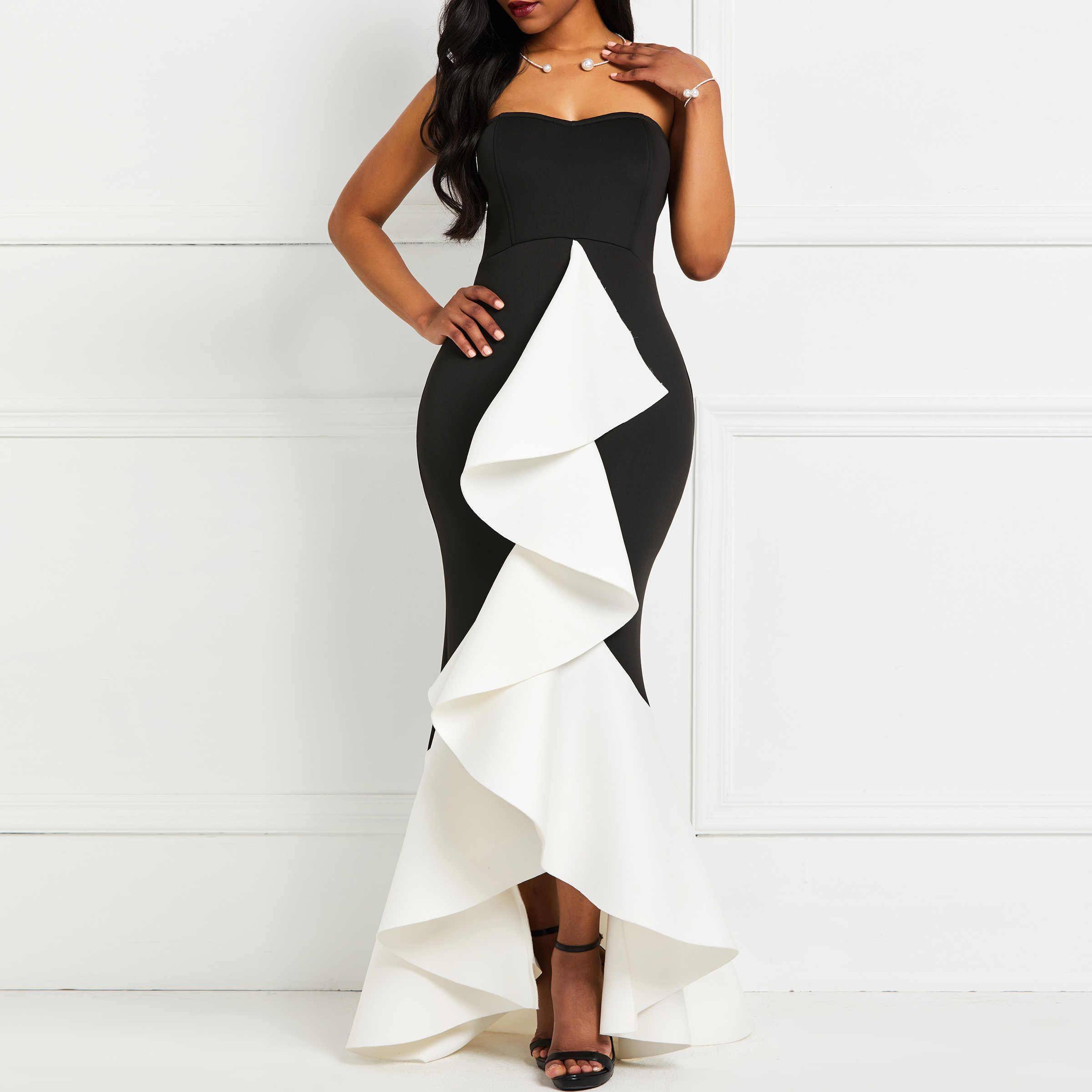 Женское сексуальное праздничное платье без бретелек, черный слой, оборки, вечерние женские летние, высокая низкая труба без спинки, облегающие элегантные длинные платья