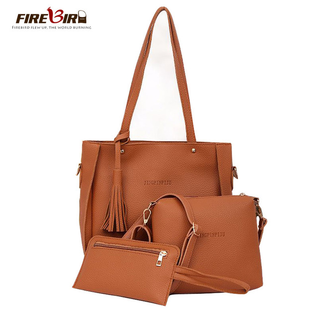 4 Sets Women Leather Handbags Shoulder Messenger Crossbody Bag Good Quality Pu Purses And