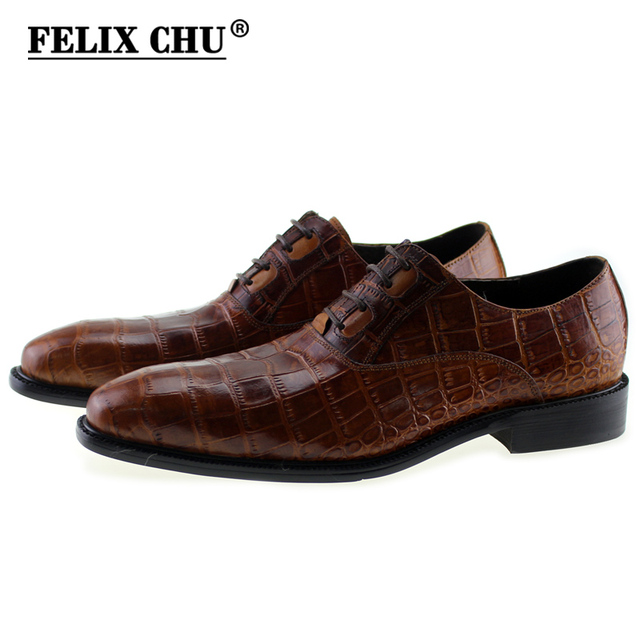 FELIX CHU New Italian Modern Men Formal Oxford Shoes Genuine Leather  Crocodile Print Brown Lace Up