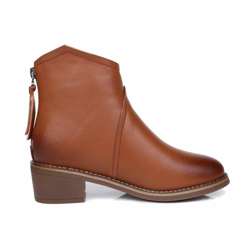 Teaching Resources Mvvjke Women Ankle Boots Shoes Genuine Leather Vintage Zip Ladies Mar Boots High Heel Female Snow Boot Warm Plush Winter Fine Quality Medical Science
