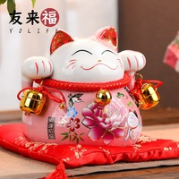Health Environmental Protection Ceramics Lucky Cat Ornaments Small Piggy Bank Opening Move To Marry Home Gift
