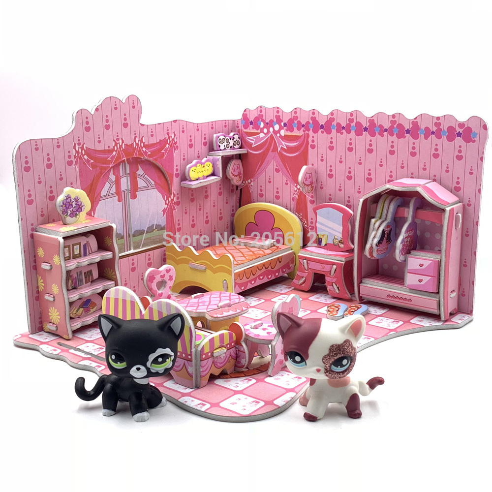 LPS CAT House Cute Foam Assembled Bedroom Accessories For Pet Shop Toys Short Hair Cat Dog Collie Great Dane (pet Not Included)