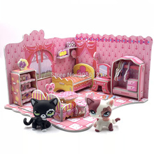 Rare font b pet b font shop lps toys house cute foam assembled bedroom accessories for