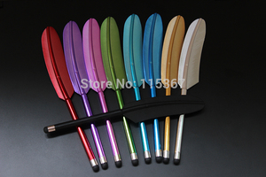 Image 1 - 100pcs/lot Feather Capacitive Stylus Touch Screen Pen for iPhone 5 4S 4 Samsung S4 Tablet PC Novelty Item DP0005