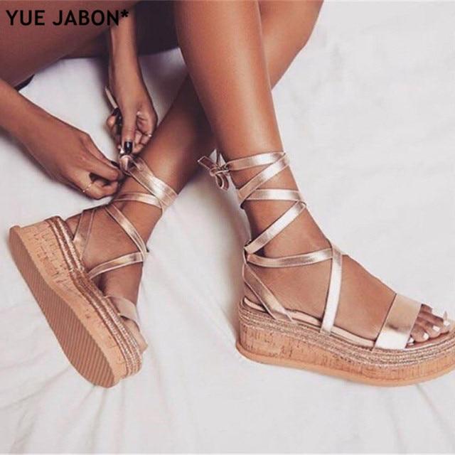 Brand Ankle Strap Women Sandals Open Toe Wedge Espadrilles Women Lace Up Platform  Sandals Women Fashion Party Dress Shoes Woman 1c979034d8e9