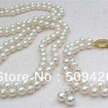 > 2 ряда Белый 8 ММ Akoya Морская раковина жемчужное ожерелье браслет серьги набор