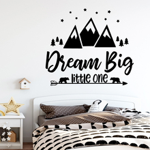 Cartoon dream big little one Frase Wall Stickers For Children Room Decal Mural Kids Bedroom Vinyl Decals