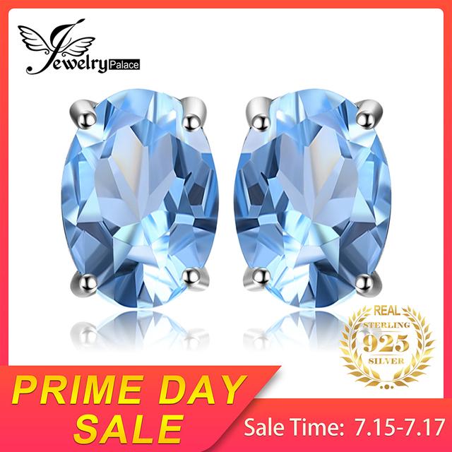Blue Topaz Birthstone Stud Earrings
