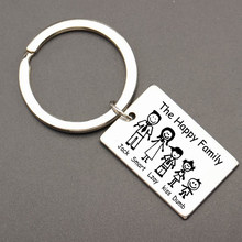 Fashion Family Keychain Engraved The Happy Family Personalized Custom Family Name For Parents Family Member Gift Key Ring(China)