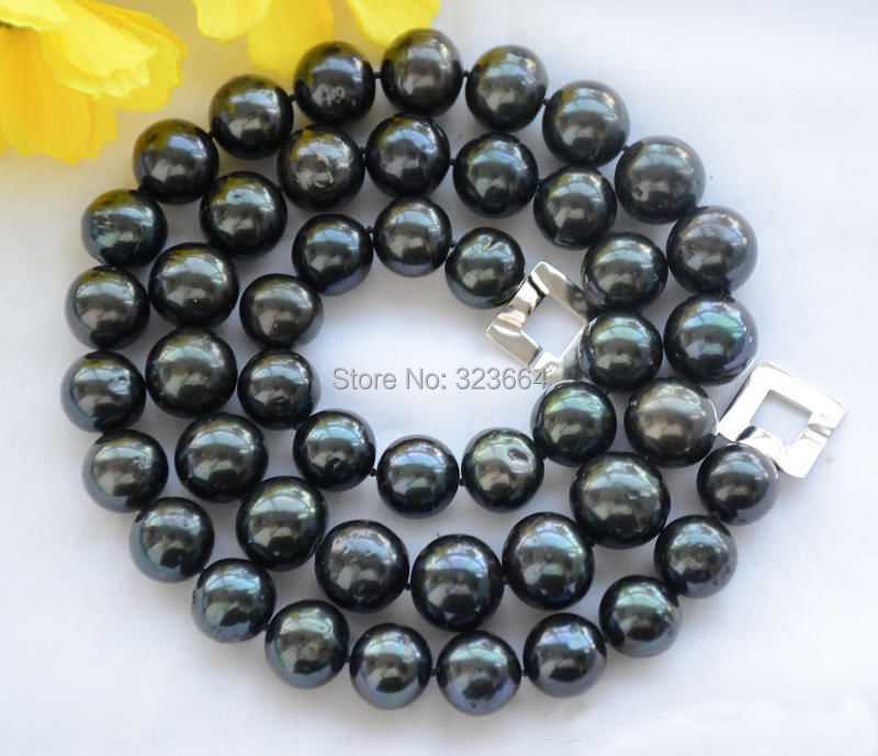 12mm ROUND Tahitian black Freshwater cultured PEARL NECKLACE 30inch 50 12mm round black freshwater cultured pearl necklace