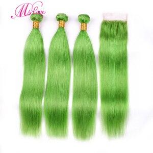 Image 1 - MS 愛事前色緑ストレートヘアの束で 100% レミーブラジル人間の髪のバンドル閉鎖 4*4 毛織り