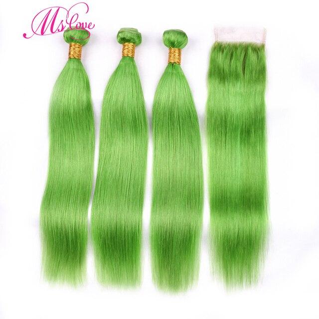 MS Liefde Pre Gekleurde Groene Steil Haar Bundels Met Sluiting 100% Remy Braziliaanse Menselijk Haar Bundels Met Sluiting 4*4 haar Weave