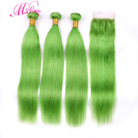 Ms Love Pre Colored Green Straight Hair Bundles With Closure 100% Remy Brazilian Human Hair Bundles With Closure 4*4 Hair Weave