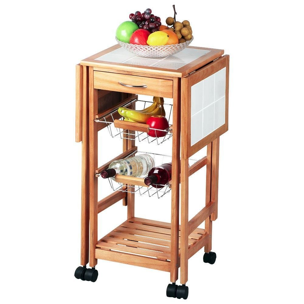 Portable Rolling Drop Leaf Kitchen Storage Trolley Cart Island Sapele Color