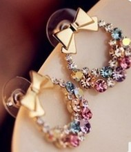Hot Fashion Bijoux Colorful Crystal Eaerrings Jewelry Exquisite Bow Stud Earrings For Women Jewelry
