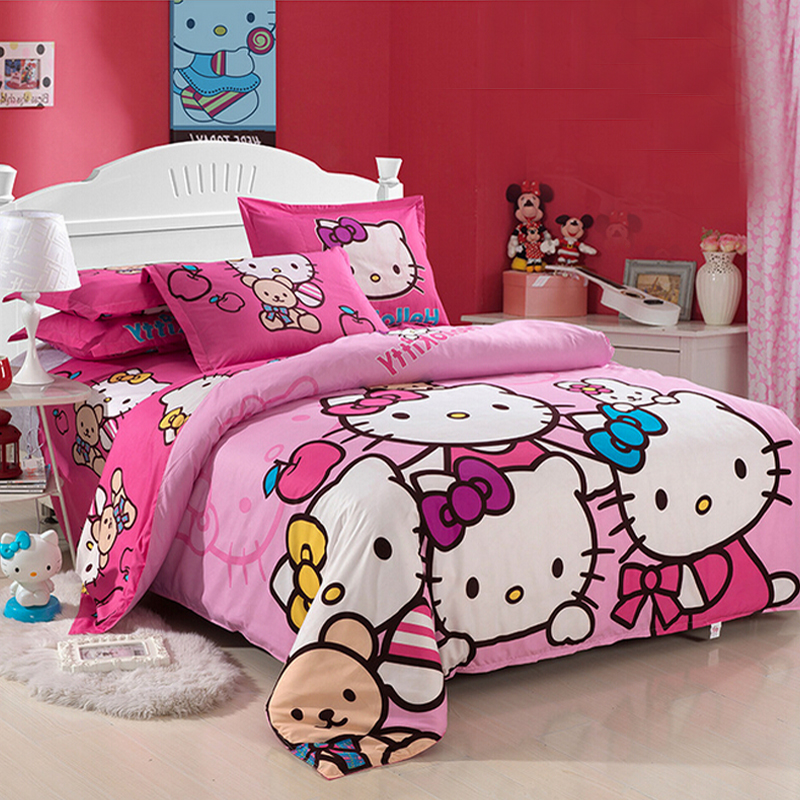 Cartoons Bedroom Sets For Teenagers : Home Bedding Sets Cute Cat Cartoon Bedding Set Bedclothes Kids