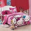 3pcs 4pcs Cute Cat Cartoon Bedding Set Bedclothes Kids Girl Cotton Quilt Cover Soft King Queen Twin Size Linen Bed Sheet