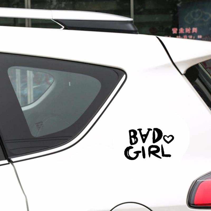 QYPF 15.5 سنتيمتر * 10 سنتيمتر أزياء سيئة فتاة الفينيل سيارة ملصقا صائق دراجة نارية سيارة التصميم الأسود الفضة C15-1911