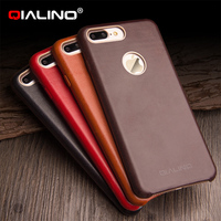 For iphone7 7plus QIALINO Luxury Calf Skin Genuine Leather Case for iphone8/ 8 plus cover 4.7/5.5 inch Ultra Slim Phone Case