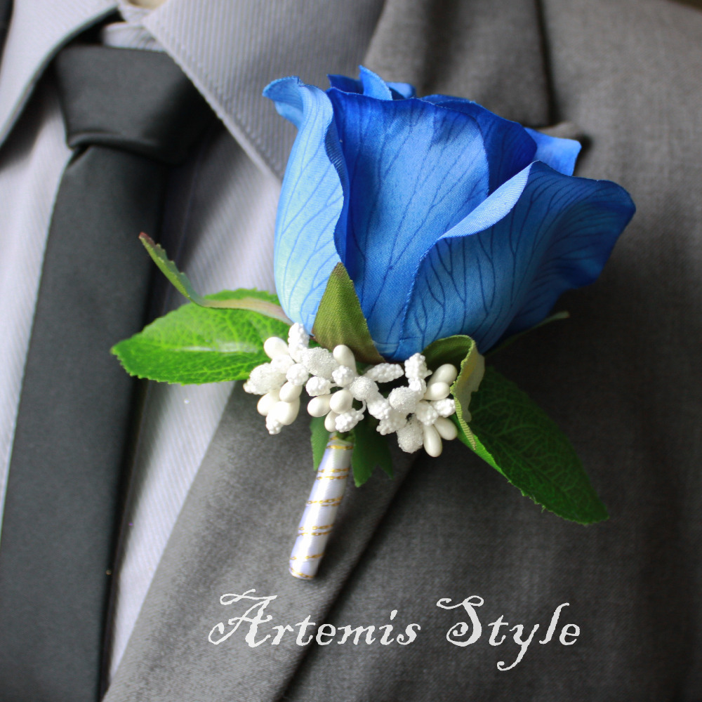 Rose Boutonniere Royal Blue Silk Rose Lapel Flower Wedding