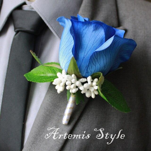 Rose boutonniere royal blue silk rose lapel flower wedding rose boutonniere royal blue silk rose lapel flower wedding decoration party banquet artificial flowers mens corsage mightylinksfo