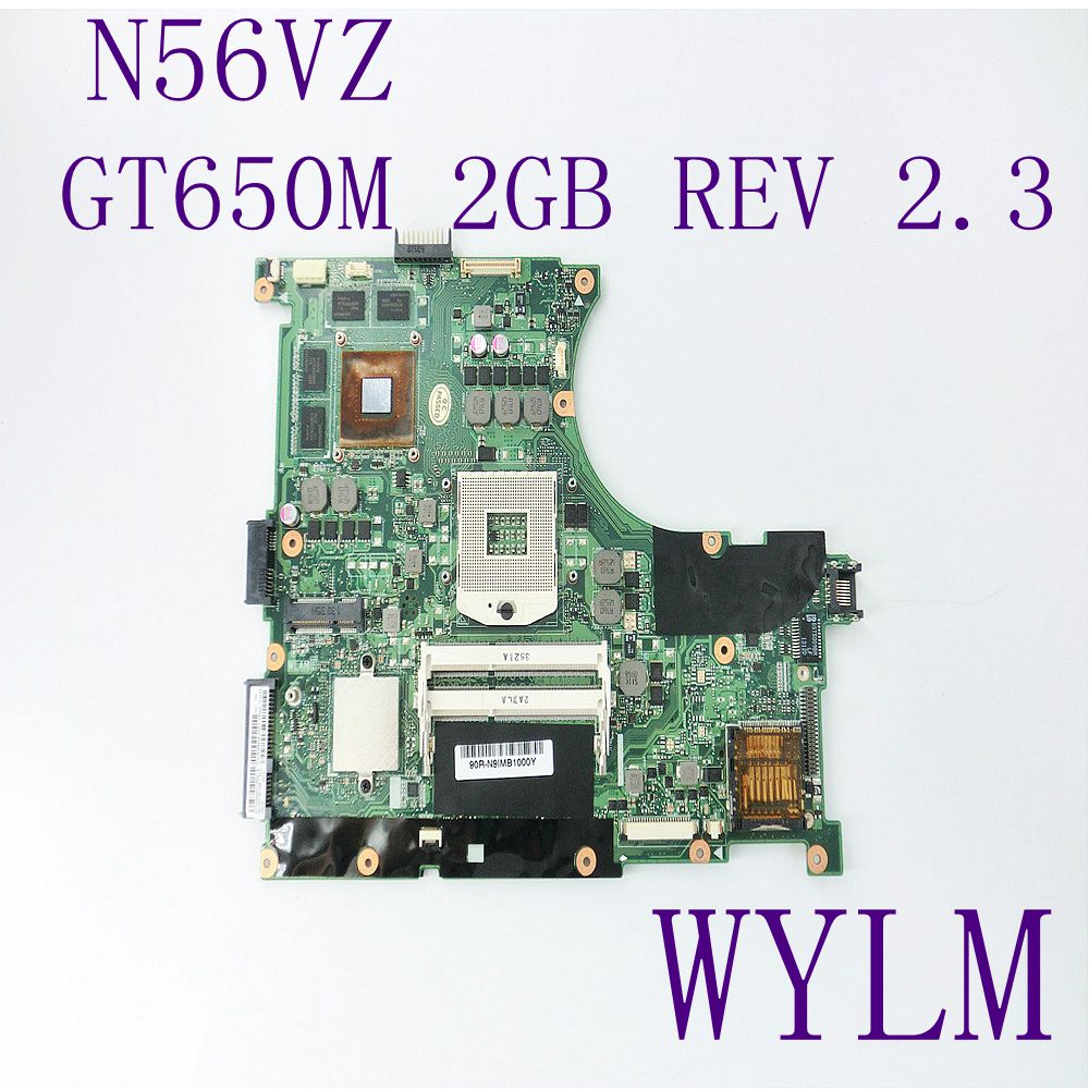 N56VZ Motherboard For ASUS N56VM N56VJ N56VZ N56VB Laptop mainboard REV2.3 GT650M 2GB DDR3 PGA 989 100% Tested Free shipping brand new pbl80 la 7441p rev 2 0 mainboard for asus k93sv x93sv x93s laptop motherboard with nvidia gt540m n12p gs a1 video card