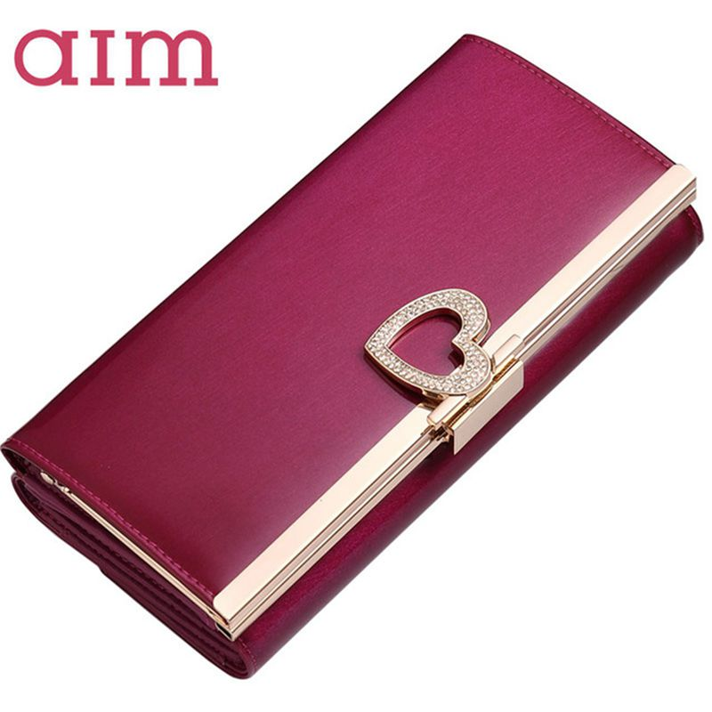 AIM Large Capacity Fashion Leather Wallet for Women Brand Trifold Pink Clutch Bags Long Coin Purse