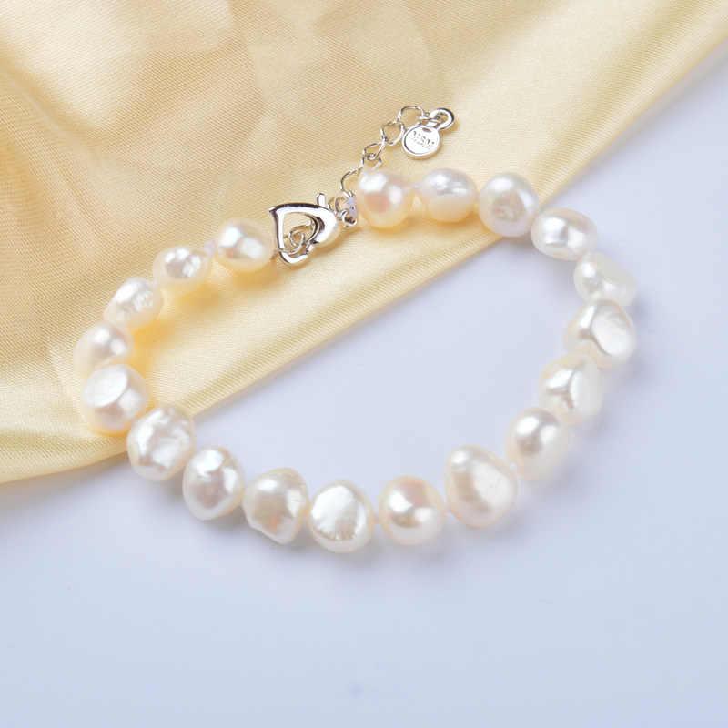 Женские браслеты из барочного жемчуга ASHIQI, браслеты из белого натурального пресноводного жемчуга калибра 9–10 мм, на подарок, ювелирные изделия