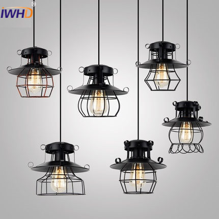 IWHD American Vintage Pendent Lamp Retro Industrial Lighting Fixtures Iron Cage Loft Style Pendant Lights Living Room Lamparas american retro pendant lights luminaire lamp iron industrial vintage led pendant lighting fixtures bar loft restaurant e27 black
