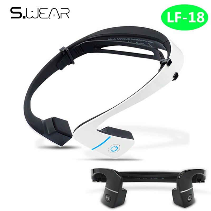 S.Wear LF-18 Wireless Bone Conduction headphone Stereo Headset BT 4.1 Waterproof Bluetooth Neck-strap NFC Earphone Hands-free цена и фото