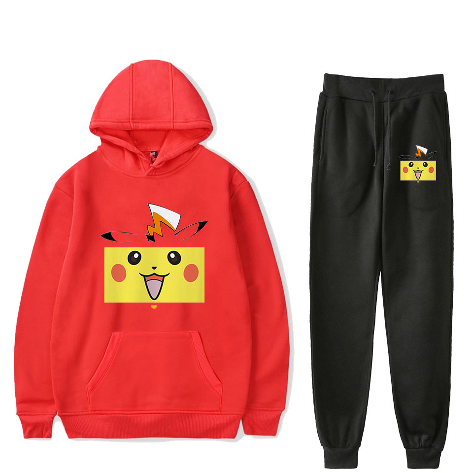 Hot New Pokemon Pikachu Red Hoodies+black Sweatpants Men/women Harajuku High Quality Cartoon Pokemon Boy'girl's Hoodies Suits