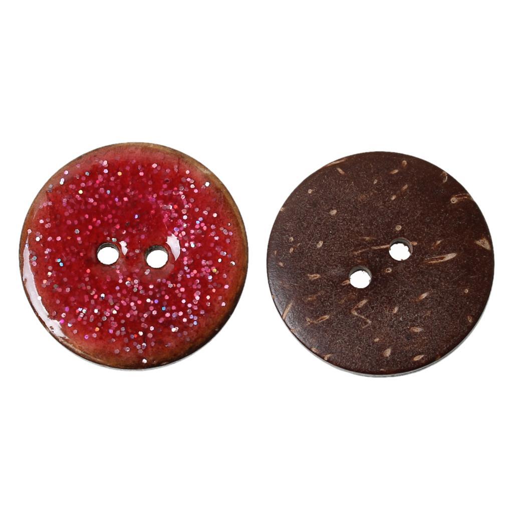 DoreenBeads Кокосовая оболочка швейная Кнопка Скрапбукинг Круглый натуральный два отверстия эмаль фуксия 25,0 мм диаметр, 10 шт