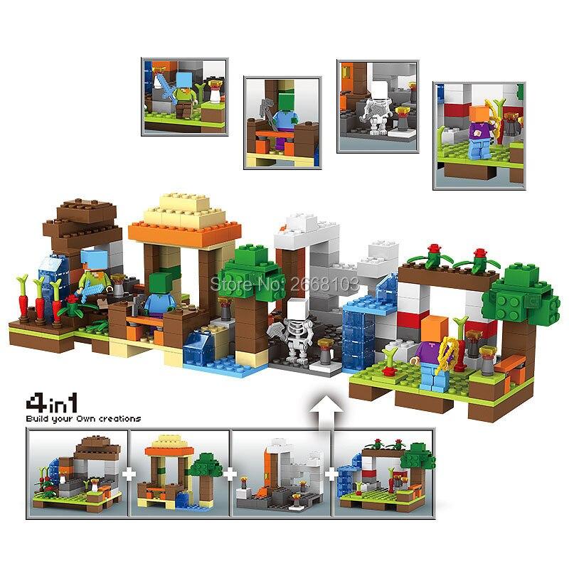 Minecraft My World 4 IN 1 Craft Educational Toys Village Tree House Building Blocks Model kits Hobbies kid Gift brick my worlds 33068 1516pcs lele my world minecraft the village
