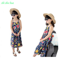 Girl Dress Strap Print Fashion Evening Vestidos Home Sleeping Clothes Cotton 4-12 Y Children Quality Clothing 2019 Hot Sale summer girl clothes new strap dress rose print children s wear vestidos baby 4 11 y children quality clothing 2019 hot sale