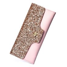 Women Ladies PU Leather Clutch Sequin Long Wallet ID Credit Card Holder Purse Handbag thinkthendo women fashion pu leather clutch wallet card holder bag ladies long purse handbag